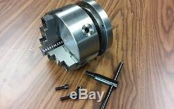 6 3-JAW SELF-CENTERING LATHE CHUCK top & bottom jaws w. 1-1/2-8 adapter plate