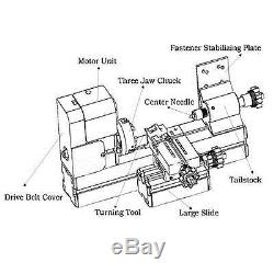 DC 12V Motorisierte Metall Drehbank/mini Metal Lathe Teaching Tool 3.44kg 24W