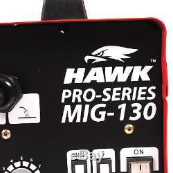 Hawk 130 Portable 230v No Gas Gasless Mig Flux Welding Mask Welder Machine Kit