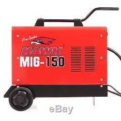 Hawk 150 Gas No Gasless Flux Solid Wire Feed Mig Weld Welder Welding Machine New