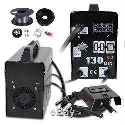 MIG 130 Gas-Less Flux Core Wire Automatic Feed Welder Welding Machine Set w Mask