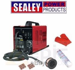 NEW Sealey 130Amp Mig Welder + Gas Bottle, Wire, Tips, & Gauntlets Supermig130