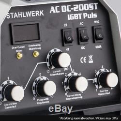 SCHWEIßGERÄT STAHLWERK AC/DC WIG 200 ST IGBT Puls WIG INVERTER m. PULSFUNKTION