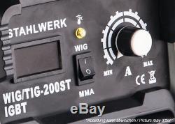 SCHWEIßGERÄT STAHLWERK DC WIG 200 ST IGBT HF WIG INVERTER mit MMA E-HAND