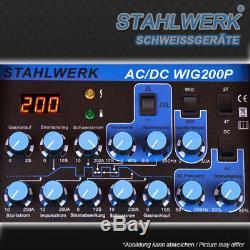 VOLLAUSSTATTUNG STAHLWERK AC/DC WIG 200 PULS S INVERTER SCHWEIßGERÄT +Zubehör