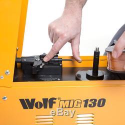Wolf MIG 130 Portable Welder 230v DC No Gas Welding Gasless 50-120amp