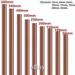 3 MM -25mm Dia. Barre Ronde En Cuivre Rod Fraisage Travail Des Métaux Soudage