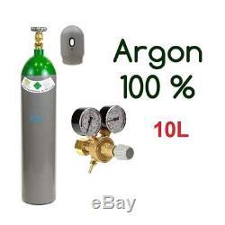 Argon Gasflasche 100% Schutzgas Schweißgas Wig & Mig 10 Litres 200bar + Regler