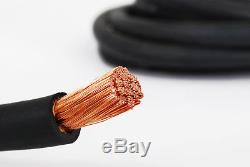 Câble De Soudage 1/0 100 '50'back Noir 50'red Batterie Leads USA Nouveau Gauge Cuivre Awg