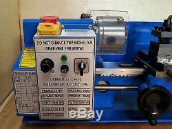 Forfait Bleu Cj18a Mini Lathe 3 Nouvelle Machine 7x14 Avec Dro Et 4 Chuck