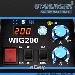 Komplettset Schweißgerät Stahlwerk Wig 200 S DC Tig Inverter Avec Mma E-hand