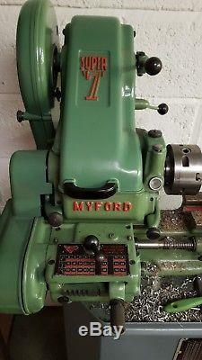 Myford Super 7 Tour Avec Réducteur De Filetage 3 Et 4 Mandrins
