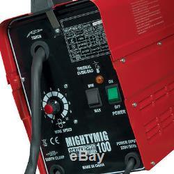 Sealey Mightymig100 Professionnel Sans Gaz Mig Welder 100amp Extra Tips Et Fil