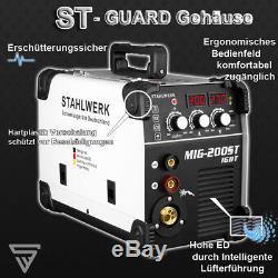 Soudeuse Stahlwerk Mig Mag 200 St Igbt Blindage Au Gaz Et Flux Gaz Cordé