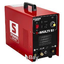 Stamos Perruque Tig Mma 3en1 Schweißgerät Plasmaschneider Cut-50 E-hand Schutzgas